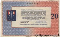 20 Francs BON DE SOLIDARITE FRANCE  1941 KL.08C SUP