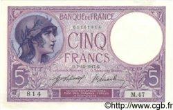 5 Francs VIOLET FRANCE  1917 F.03.01 SPL+
