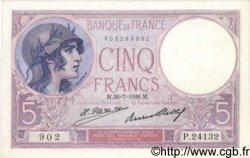 5 Francs VIOLET FRANCE  1926 F.03.10 NEUF