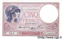 5 Francs VIOLET modifié FRANCE  1939 F.04.01 pr.NEUF