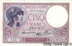 5 Francs VIOLET modifié FRANCE  1939 F.04.15 pr.NEUF