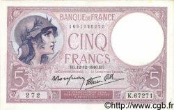 5 Francs VIOLET modifié FRANCE  1940 F.04.17 SUP à SPL