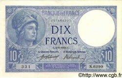 10 Francs MINERVE FRANCE  1918 F.06.03 pr.SPL