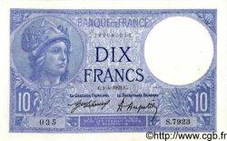 10 Francs MINERVE FRANCE  1921 F.06.05 SUP+
