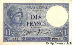10 Francs MINERVE FRANCE  1926 F.06.10 SUP à SPL