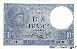 10 Francs MINERVE modifié FRANCE  1939 F.07.01 SPL+