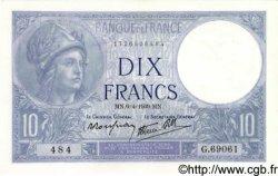 10 Francs MINERVE modifié FRANCE  1939 F.07.02 SPL