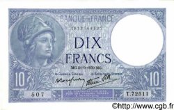 10 Francs MINERVE modifié FRANCE  1939 F.07.08 NEUF
