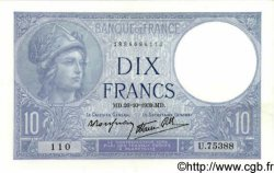 10 Francs MINERVE modifié FRANCE  1939 F.07.13 pr.SPL