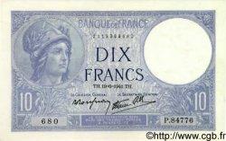 10 Francs MINERVE modifié FRANCE  1941 F.07.29 NEUF