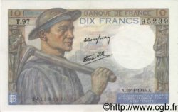 10 Francs MINEUR FRANCE  1945 F.08.13 SUP