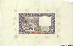 20 Francs SCIENCE ET TRAVAIL FRANCE  1941 F.12.00e7 SUP