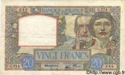 20 Francs SCIENCE ET TRAVAIL FRANCE  1940 F.12.05 TTB