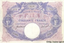 50 Francs BLEU ET ROSE FRANCE  1917 F.14.30 TTB