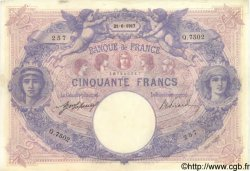 50 Francs BLEU ET ROSE FRANCE  1917 F.14.30 TTB+