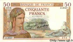50 Francs CÉRÈS FRANCE  1935 F.17.21 SUP+ à SPL
