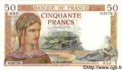 50 Francs CÉRÈS modifié FRANCE  1937 F.18.02