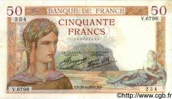 50 Francs CÉRÈS modifié FRANCE  1937 F.18.02 SUP
