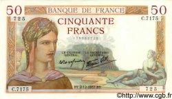 50 Francs CÉRÈS modifié FRANCE  1937 F.18.05 SPL