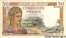 50 Francs CÉRÈS modifié FRANCE  1938 F.18.11 SUP