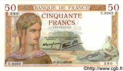 50 Francs CÉRÈS modifié FRANCE  1938 F.18.13 pr.SPL