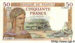 50 Francs CÉRÈS modifié FRANCE  1938 F.18.14 SUP