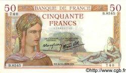 50 Francs CÉRÈS modifié FRANCE  1938 F.18.15 SUP+ à SPL