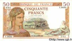 50 Francs CÉRÈS modifié FRANCE  1939 F.18.22 SUP