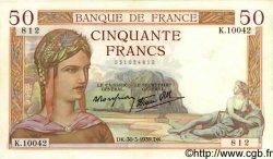 50 Francs CÉRÈS modifié FRANCE  1939 F.18.24 pr.SPL