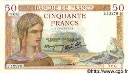 50 Francs CÉRÈS modifié FRANCE  1940 F.18.39 SPL