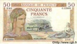 50 Francs CÉRÈS modifié FRANCE  1940 F.18.40 TTB