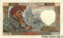 50 Francs JACQUES CŒUR FRANCE  1940 F.19.04 SUP+