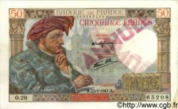 50 Francs JACQUES CŒUR FRANCE  1941 F.19.05 SPL