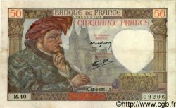 50 Francs JACQUES CŒUR FRANCE  1941 F.19.06 TB+