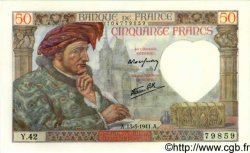 50 Francs JACQUES CŒUR FRANCE  1941 F.19.07 NEUF