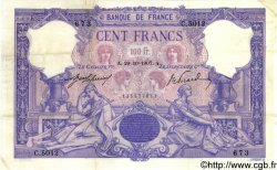 100 Francs BLEU ET ROSE FRANCE  1907 F.21.22 TTB