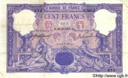 100 Francs BLEU ET ROSE FRANCE  1907 F.21.22 TTB