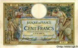 100 Francs LUC OLIVIER MERSON sans LOM FRANCE  1909 F.23.01 TB+ à TTB
