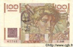 100 Francs JEUNE PAYSAN FRANCE  1953 F.28.37 SUP