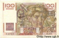 100 Francs JEUNE PAYSAN filigrane inversé FRANCE  1953 F.28bis.02 SUP