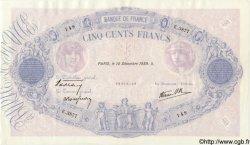 500 Francs BLEU ET ROSE modifié FRANCE  1939 F.31.52 SUP
