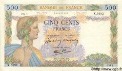 500 Francs LA PAIX FRANCE  1942 F.32.34 pr.SUP
