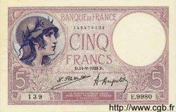 5 Francs VIOLET FRANCE  1922 F.03.06 SUP à SPL