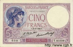 5 Francs VIOLET FRANCE  1929 F.03.13 SUP