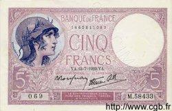 5 Francs VIOLET modifié FRANCE  1939 F.04.00 SPL