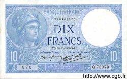 10 Francs MINERVE modifié FRANCE  1939 F.07.12 SPL