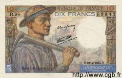 10 Francs MINEUR FRANCE  1945 F.08.13 SPL
