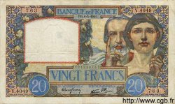 20 Francs SCIENCE ET TRAVAIL FRANCE  1941 F.12.14 pr.TTB