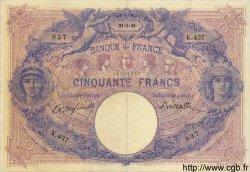 50 Francs BLEU ET ROSE FRANCE  1891 F.14.03 TTB