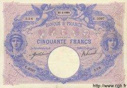 50 Francs BLEU ET ROSE FRANCE  1908 F.14.21 TTB
